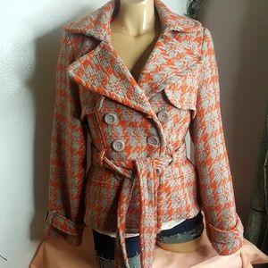 XXI orange & gray houndstooth jacket size M